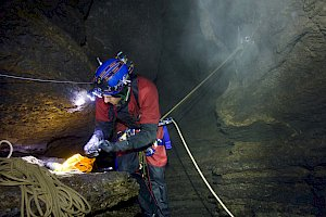 A person caving