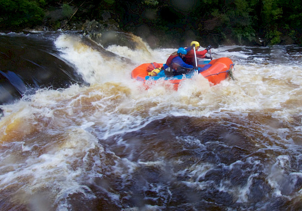Rafters paddling a large recirculating rapid