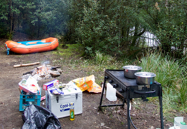 Rafting equipment and a BBQ
