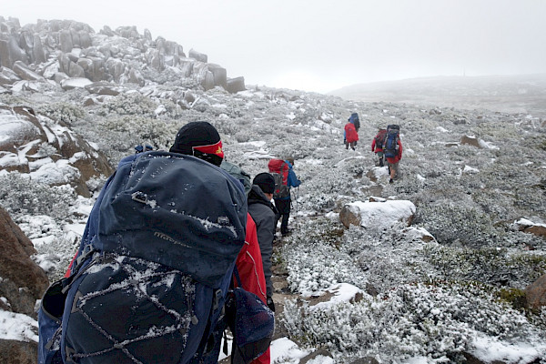 Bushwalkers with big packs in snow conditions