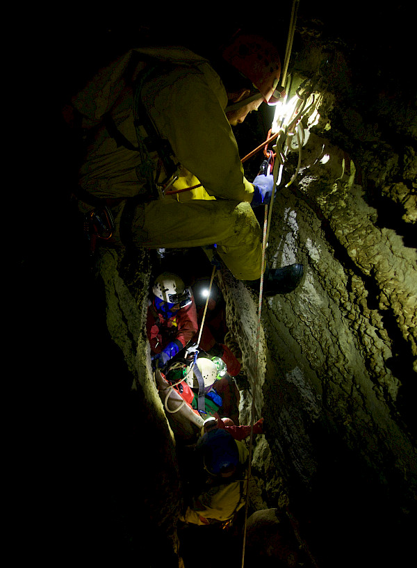 On ropes in the cave