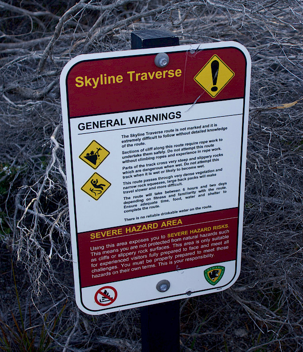 Skyline Traverse warning sign
