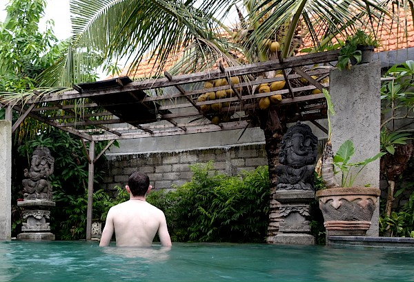 Author in pool in Ubud Indonesia
